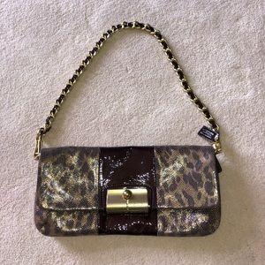 Coach Kristin Metallic Leather Leopard Clutch Bag